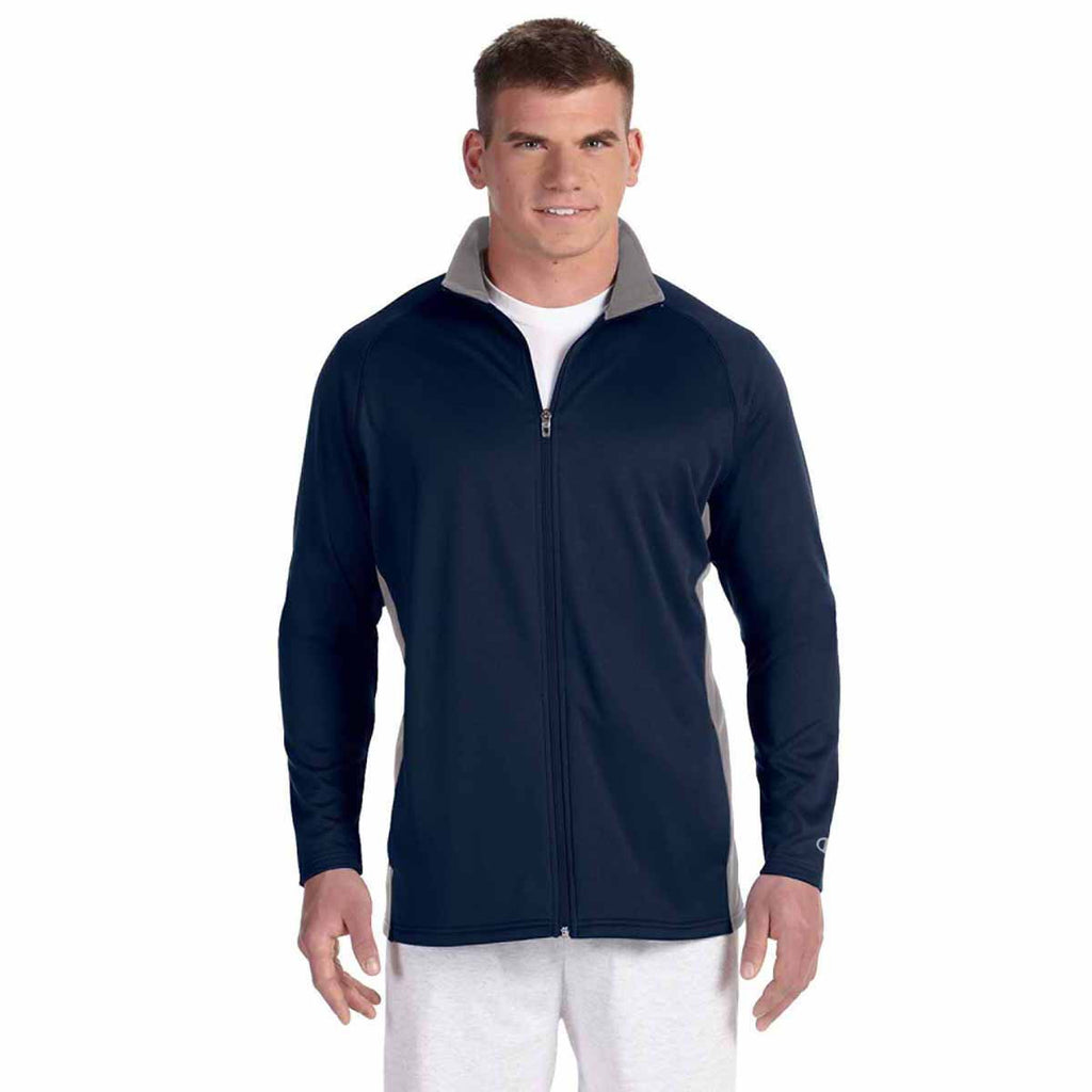 Champion Men's Navy/Stone Grey Performance 5.4-Ounce Colorblock Full-Zip Jacket