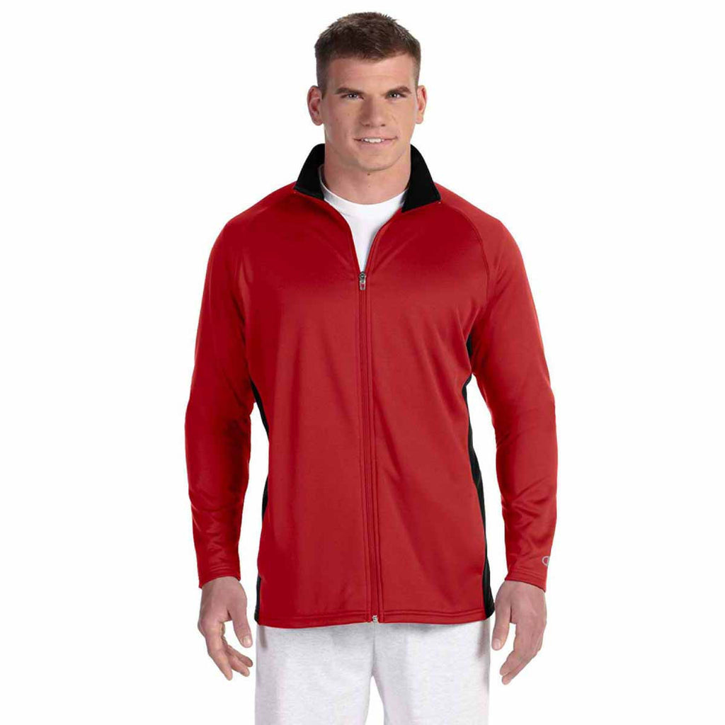 Champion Men's Scarlet/Black Performance 5.4-Ounce Colorblock Full-Zip Jacket