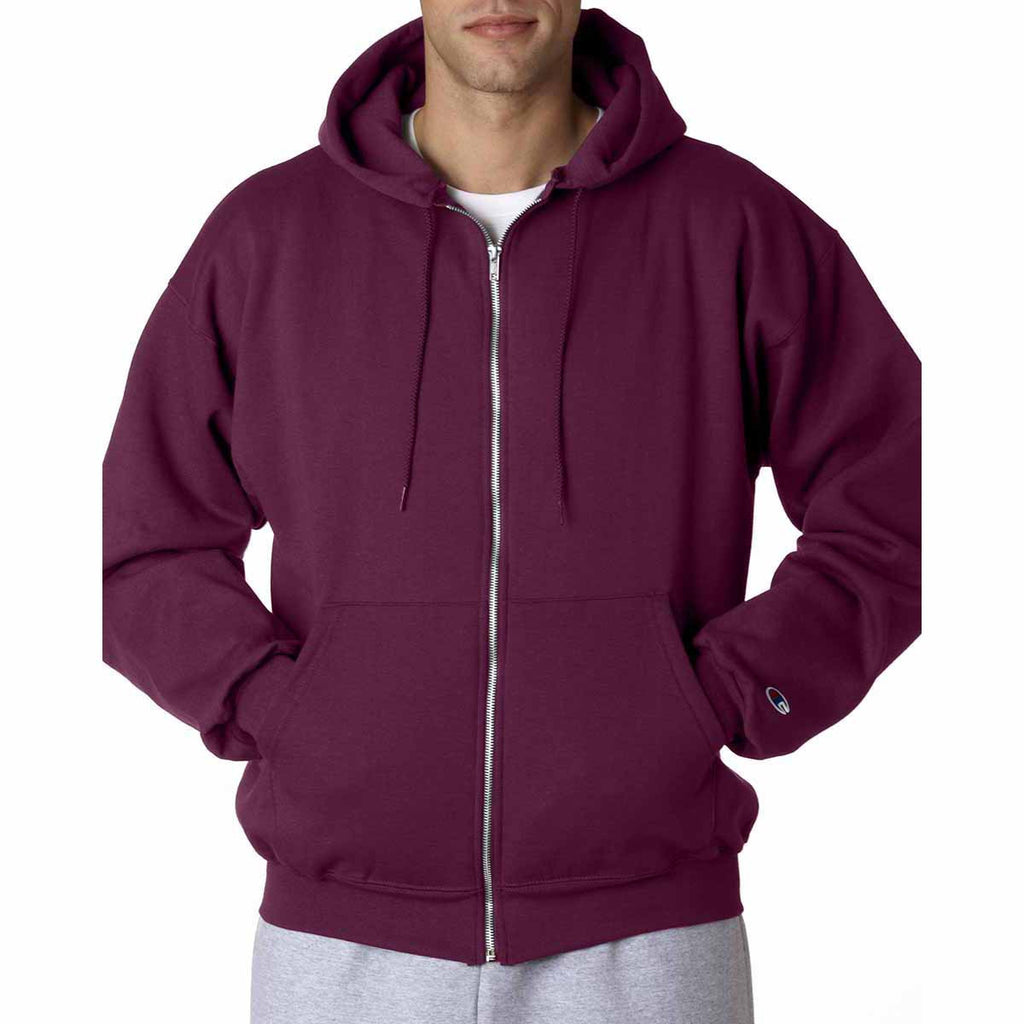 Champion Men's Maroon Eco 9-Ounce Full Zip Hood