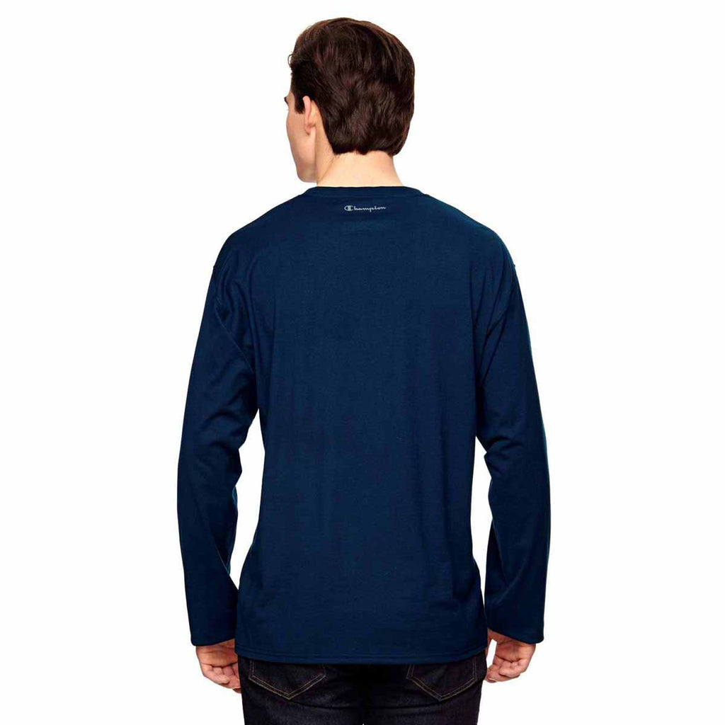 Champion Men's Sport Dark Navy Vapor Cotton Long-Sleeve T-Shirt