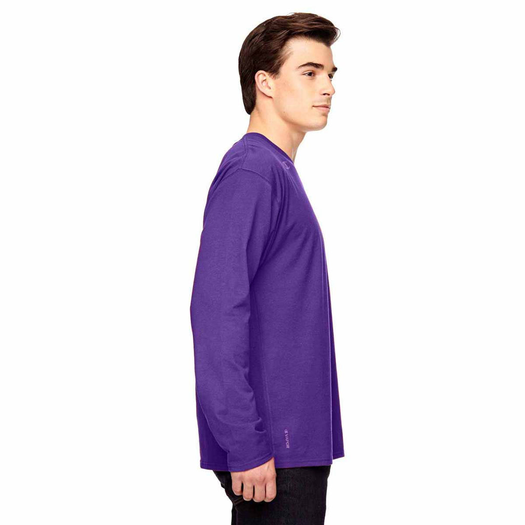 Champion Men's Sport Purple Vapor Cotton Long-Sleeve T-Shirt