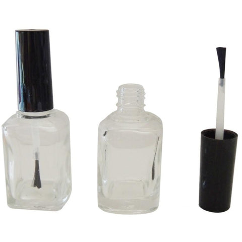 SQUARE EMPTY BOTTLE WITH CAP BRUSH 15 ML. - Nails Plus Depot