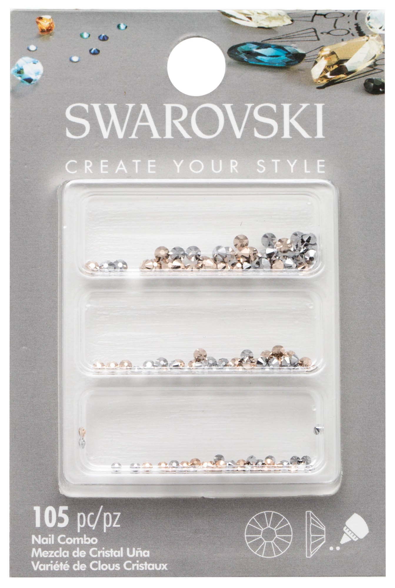 SWAROVSKI ROSE GOLD NAIL COMBO 105 PCS. - Nails Plus Depot
