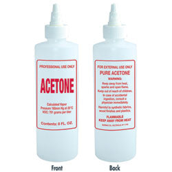 IMPRINTED NAIL SOLUTION BOTTLE - ACETONE / 8 OZ. - Nails Plus Depot