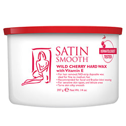 SATIN SMOOTH WILD CHERRY HARD WAX WITH VITAMIN E 14 OZ. - Nails Plus Depot