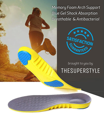 Memory Foam Shoe Insoles | Arch Support Orthopedic Insoles | Blue Gel Shock Absorption Unisex Insoles | Breathable & Size adjustable