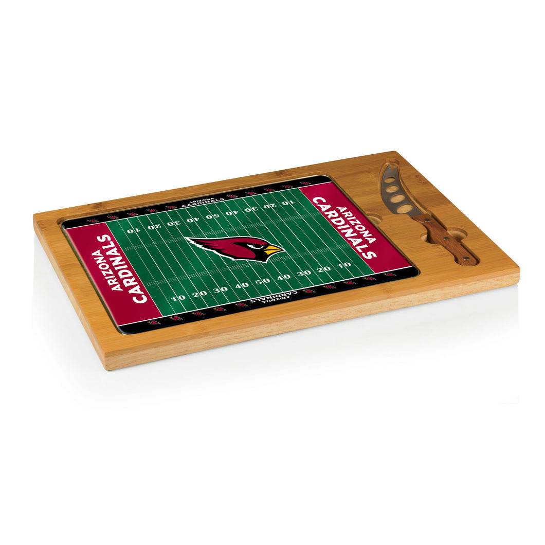 Arizona Cardinals - Icon Glass Top Serving Tray & Knife Set (Football Design) -PASSIONFORGAME
