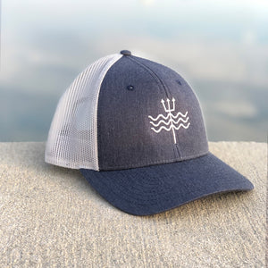 Embroidered Trident Mesh Hat - Slate Blue