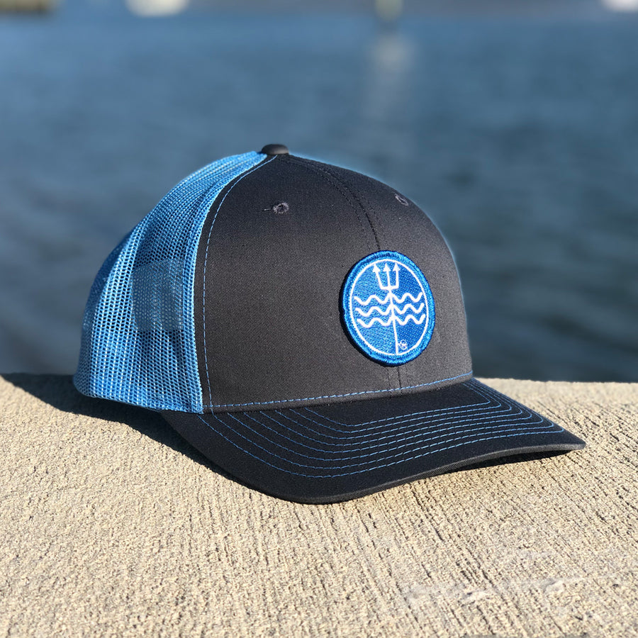 Carolina Blue & Grey Mesh Trident Logo