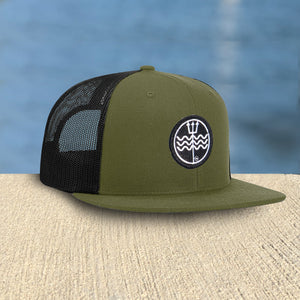 Olive Mesh Hat Trident Patch