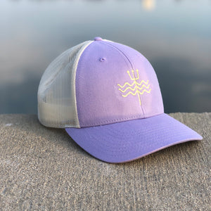 Embroidered Trident Mesh Hat - Periwinkle