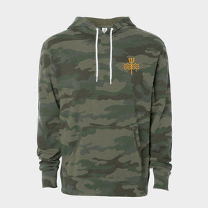 Carolina Camo Hoodie Embroidered Trident