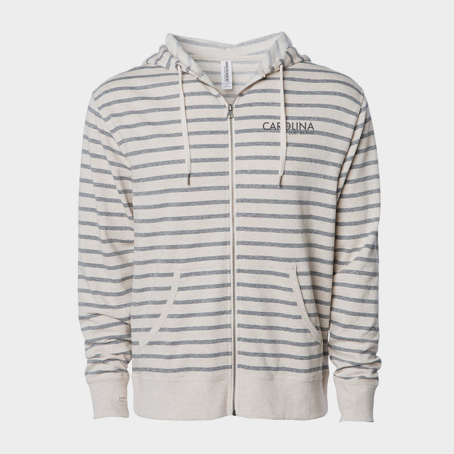 Embroidered Pocket Bumper Striped Zip