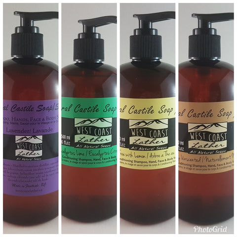Liquid Castile Hand, Face & Body Wash