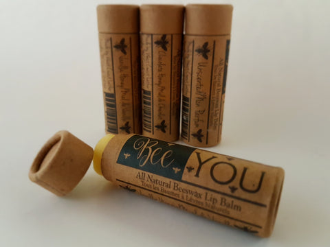 all natural beeswax lip balm- 3 pack. Chocolate honey, vanilla honey and unscented