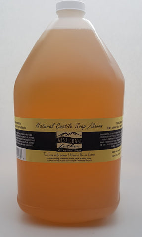 West Coast Lather 4 litre all natural liquid Castile soap - Lemon Tea Tree - 4l refill