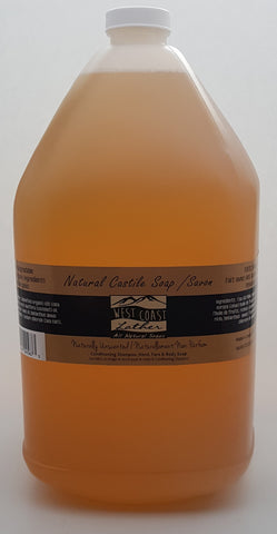 West Coast Lather 4 litre all natural liquid Castile soap - Unscented - 4l refill