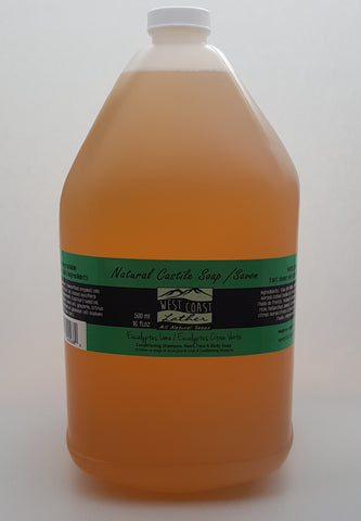 West Coast Lather 4 litre natural liquid Castile soap - Eucalyptis Lime - 4l refill