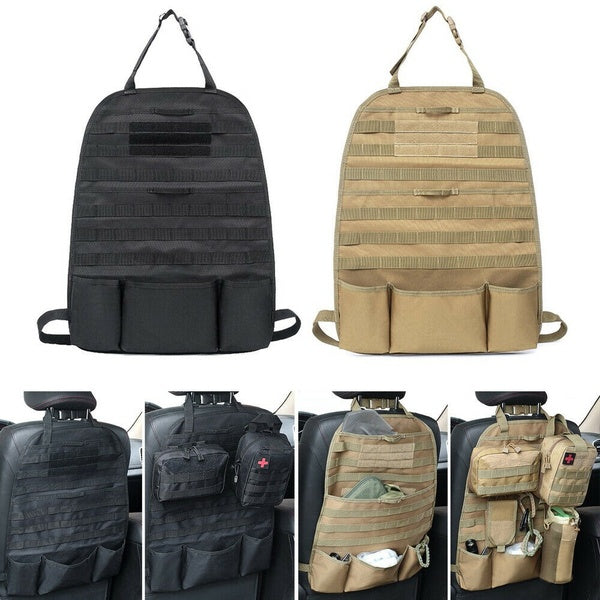 Tactical MOLLE Car Seat Organizer - Coyote Deluxe