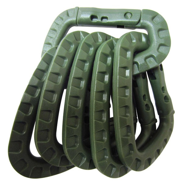 Tactical Polymer Carabiner - OD Green Pair