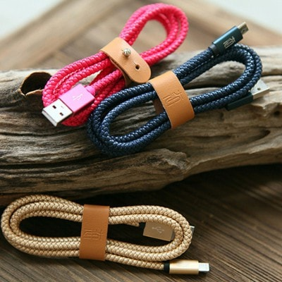 Leather weaved charging cable for iPhone, Apple MFI Certified High-quality, 8 Colors to choose, SJX003