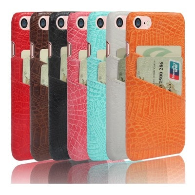 Crocodile striae PU Leather Back iPhone Case With 2 Card Slots, CA004 - We Love Apple