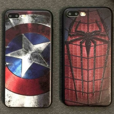 Marvel Heroes Series Relief Color Painting iPhone Case, Captain America Shield, Spiderman, Superman, Ironman.  CA025 - We Love Apple
