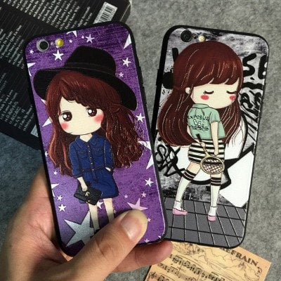 3D Relief Color Painting iPhone Case, Girls, CA026-2 - We Love Apple