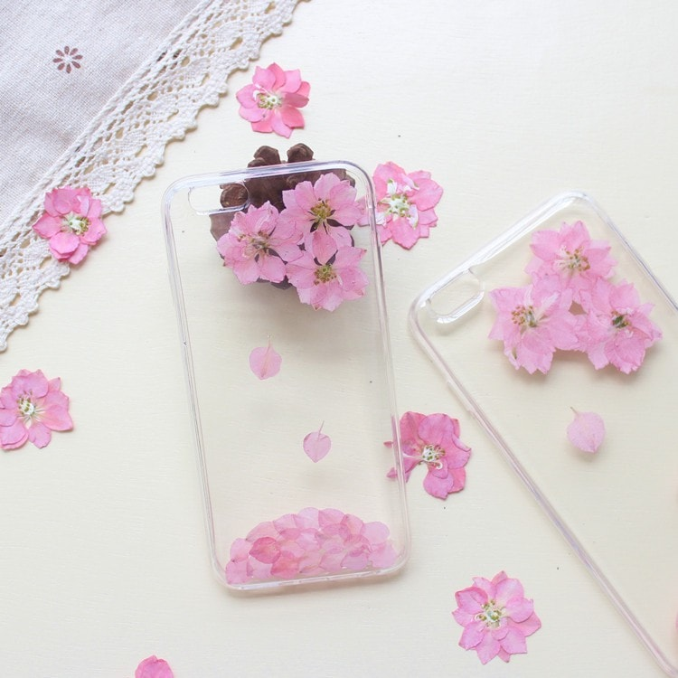 Handmade Beautiful [Real Dried Flower and Leaf Embedded] Pressed Floral Flexible Soft Rubber iPhone case, CA002 A1 - We Love Apple