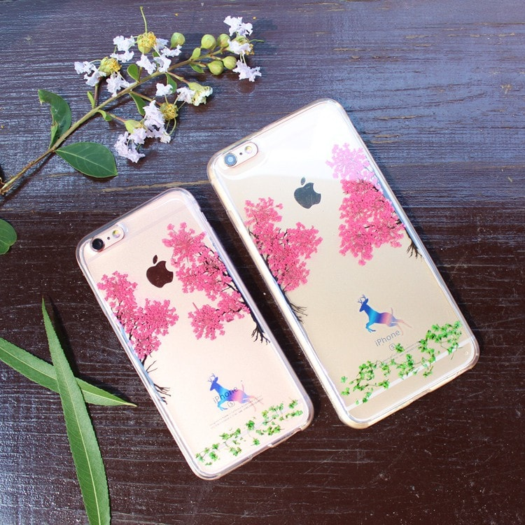 Handmade Beautiful [Real Dried Flower and Leaf Embedded] Pressed Floral Flexible Soft Rubber iPhone case, CA002 A2 - We Love Apple