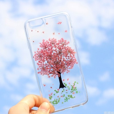Handmade Beautiful [Real Dried Flower and Leaf Embedded] Pressed Floral Flexible Soft Rubber iPhone case, CA002 A3 - We Love Apple