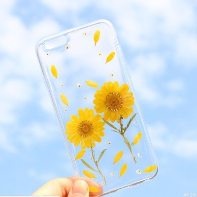 Handmade Beautiful [Real Dried Flower and Leaf Embedded] Pressed Floral Flexible Soft Rubber iPhone case, CA002 A4 - We Love Apple