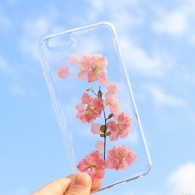 Handmade Beautiful [Real Dried Flower and Leaf Embedded] Pressed Floral Flexible Soft Rubber iPhone case, CA002 A5 - We Love Apple