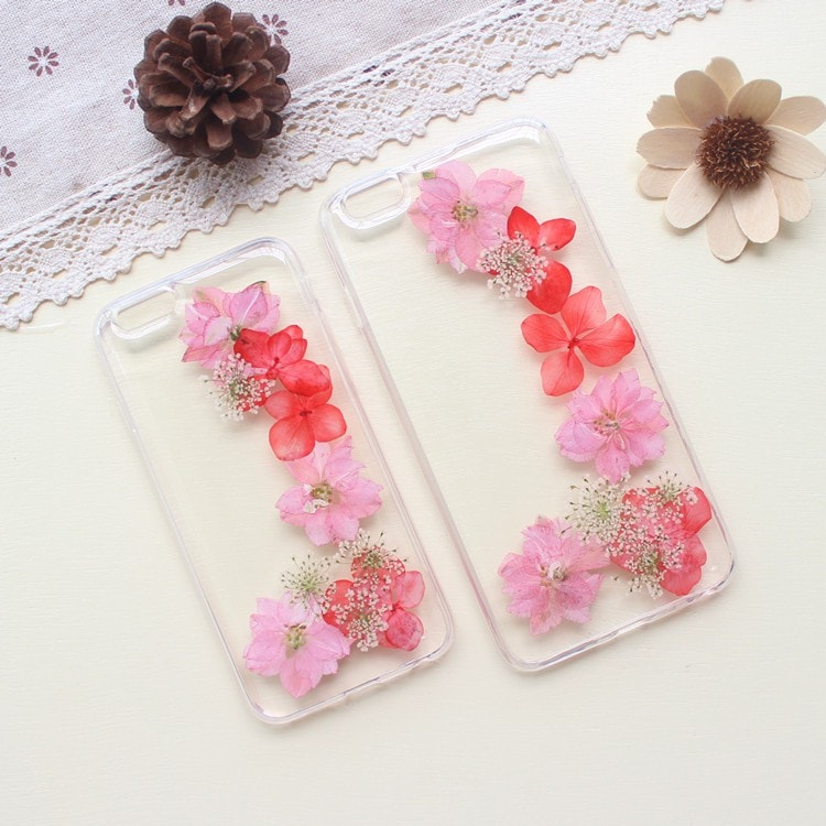 Handmade Beautiful [Real Dried Flower and Leaf Embedded] Pressed Floral Flexible Soft Rubber iPhone case, CA002 A6 - We Love Apple