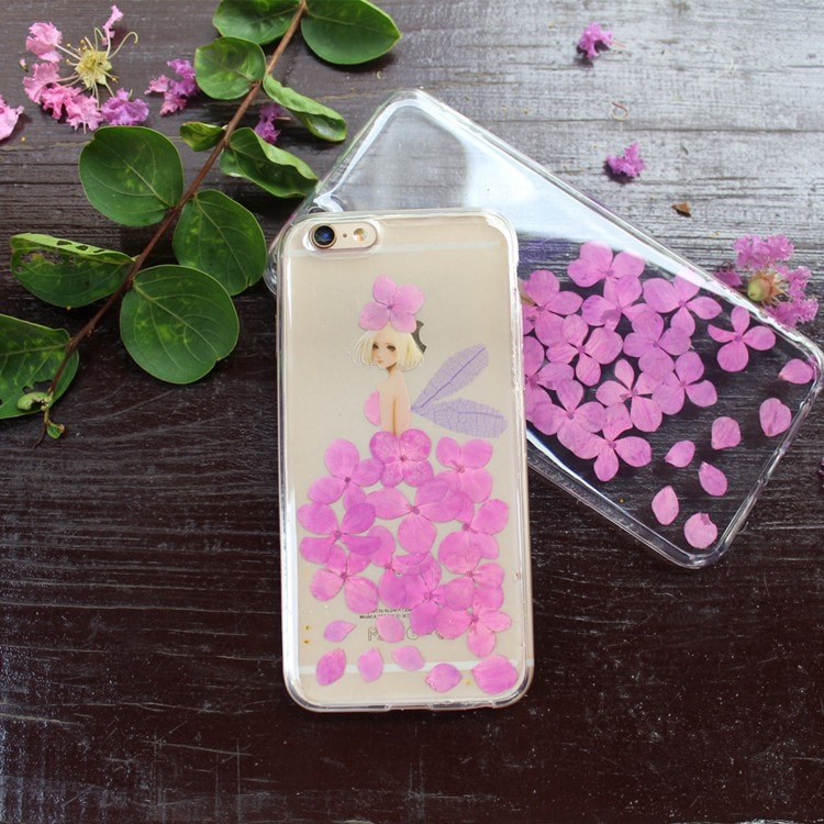 Handmade Beautiful [Real Dried Flower and Leaf Embedded] Pressed Floral Flexible Soft Rubber iPhone case, CA002 A7 - We Love Apple