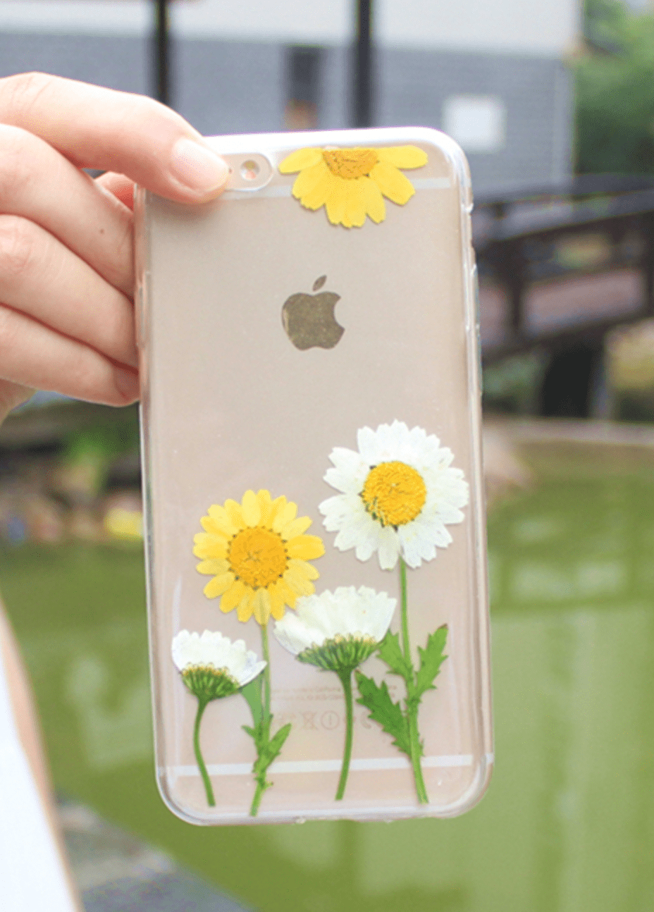 Handmade Beautiful [Real Dried Flower and Leaf Embedded] Pressed Floral Flexible Soft Rubber iPhone case, CA002 A8 - We Love Apple