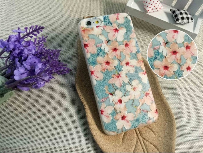 3D Relief Color Painting iPhone Case, Flower, CA026-11