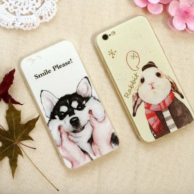 3D Relief Color Painting iPhone Case, Dog & Rabbit, CA026-15