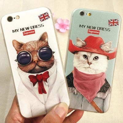 3D Relief Color Painting iPhone Case, Mr. Cat, CA026-18