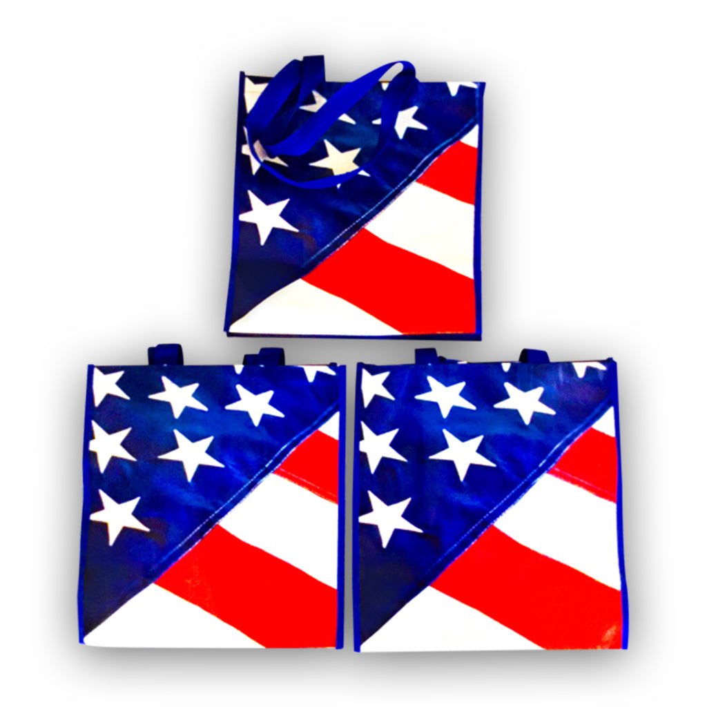 Package of 3 American Flag Reusable Grocery Bags