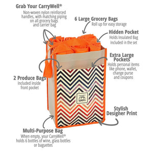Chevron 10 Piece Grocery Bag Organizer