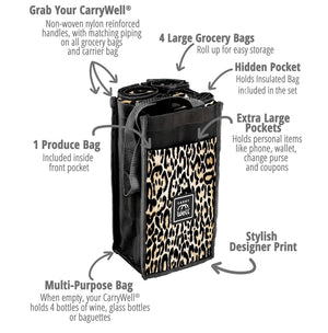 Carry Wild 7 Piece Reusable Grocery Bag Organizer