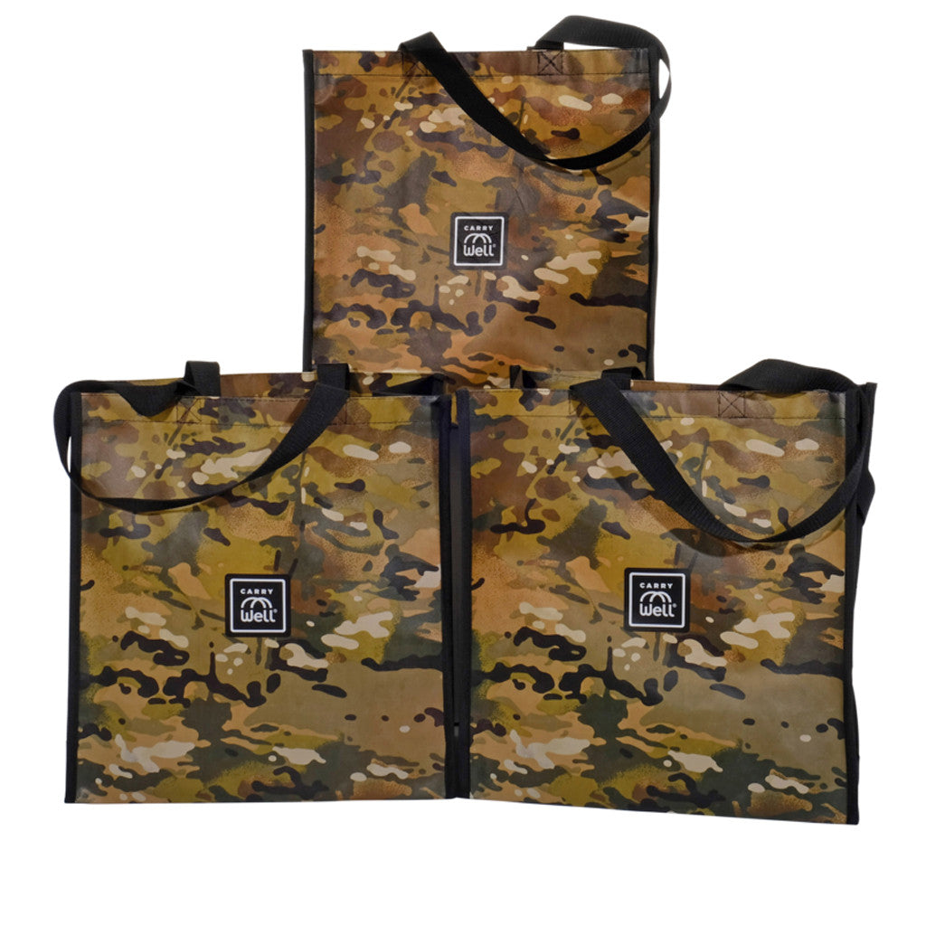 Package of 3 Camouflage Grocery Bags