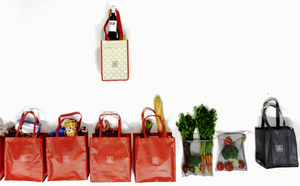 Reusable_shopping_bags-Red carrywell 7 bags in 1 grocery bag organizer that makes shopping easy, fun and stylish