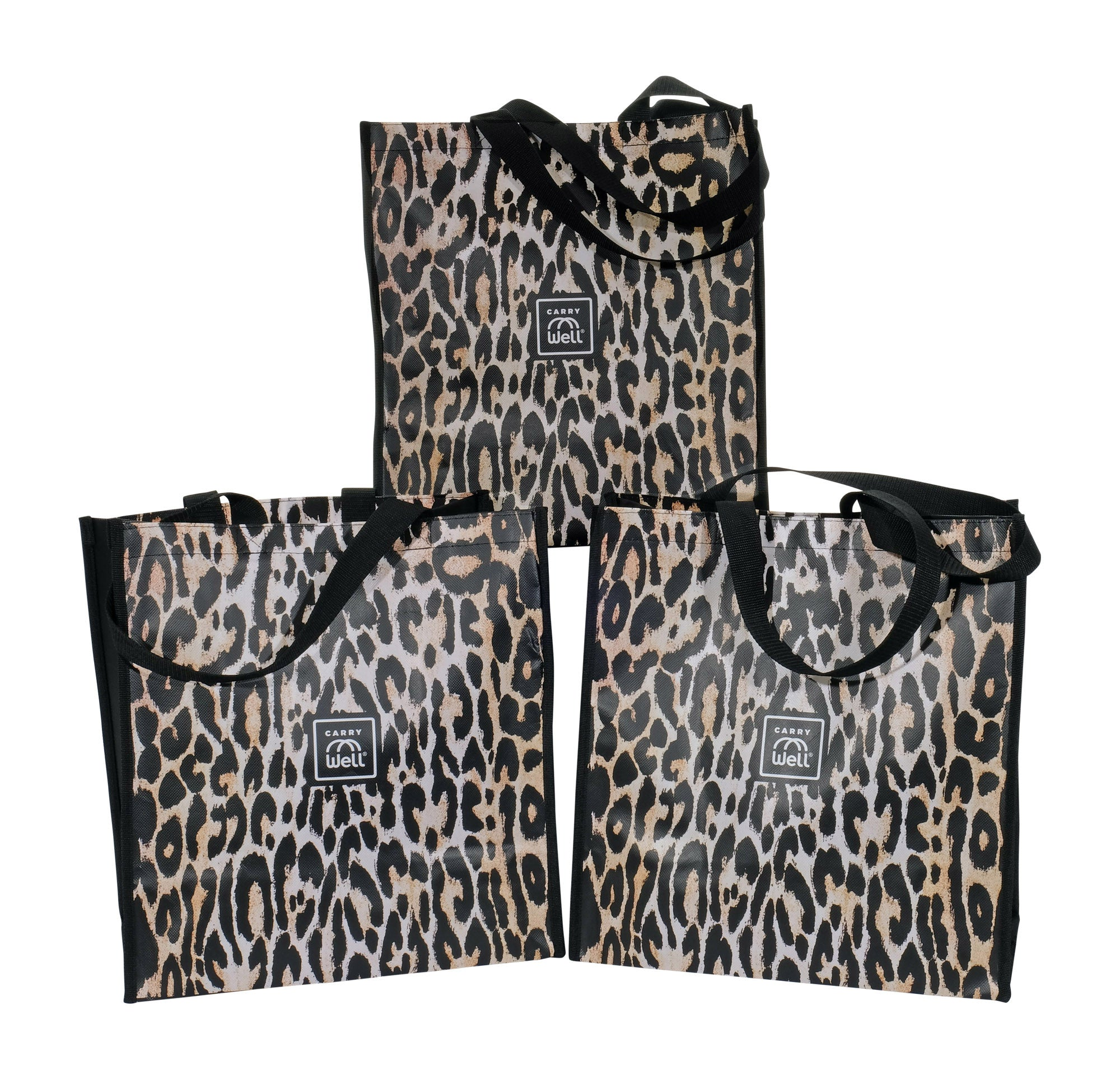 Package of 3 Leopard Print Grocery Bags