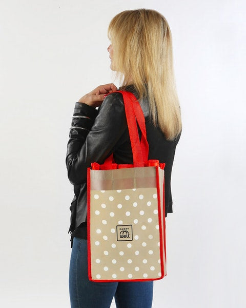 Lots of Red Dots 7 Piece Reusable Grocery Bag Organizer
