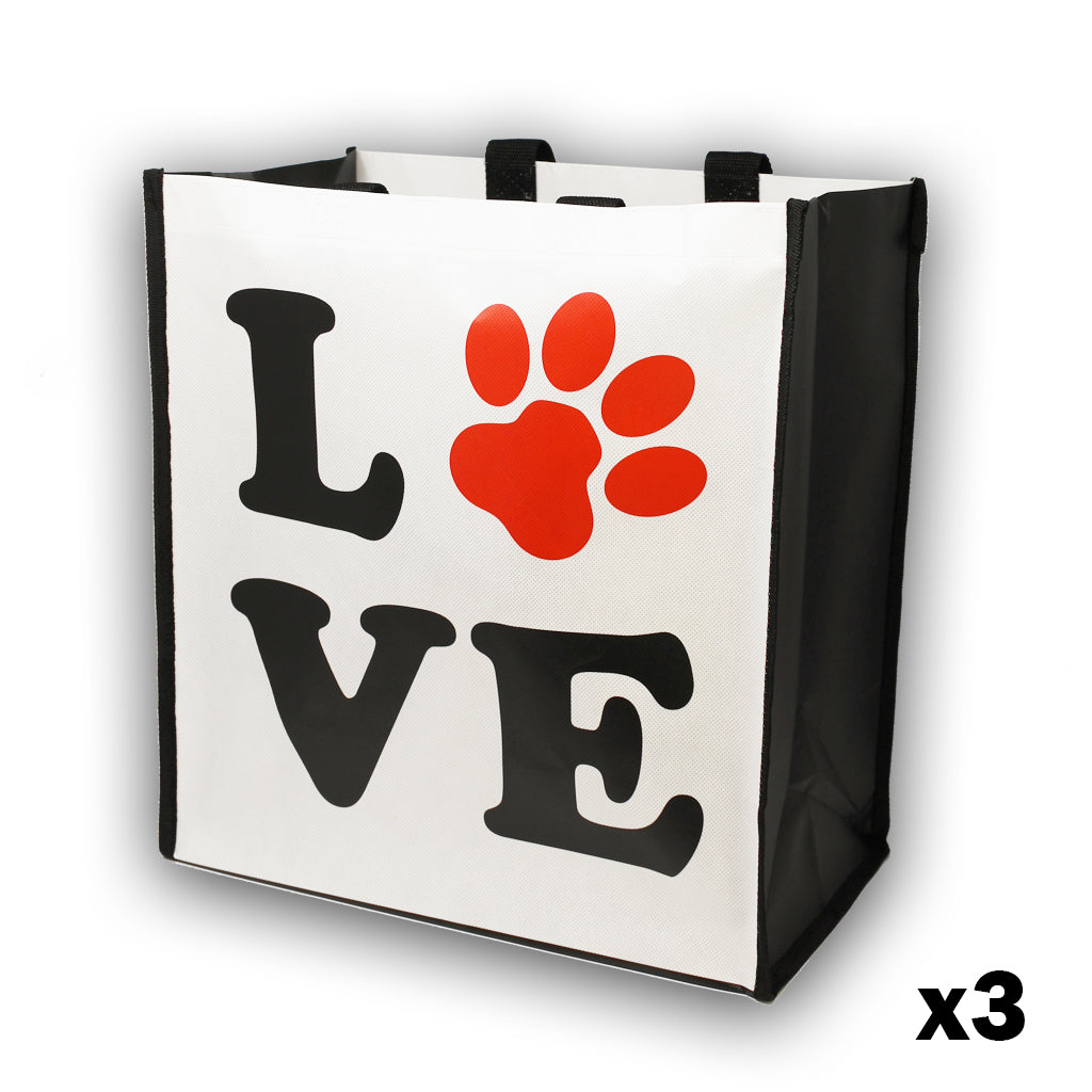 Package of 3 Puppy Love Paw Reusable Grocery Bags