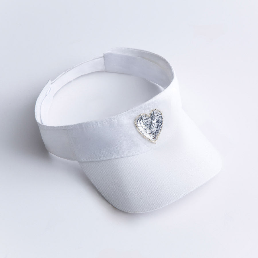 Sequin heart visor
