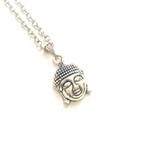 Antique Silver Buddha Head Necklace