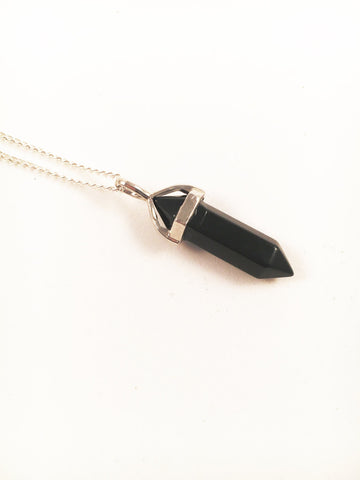 Black Agate Crystal Point Silver Necklace